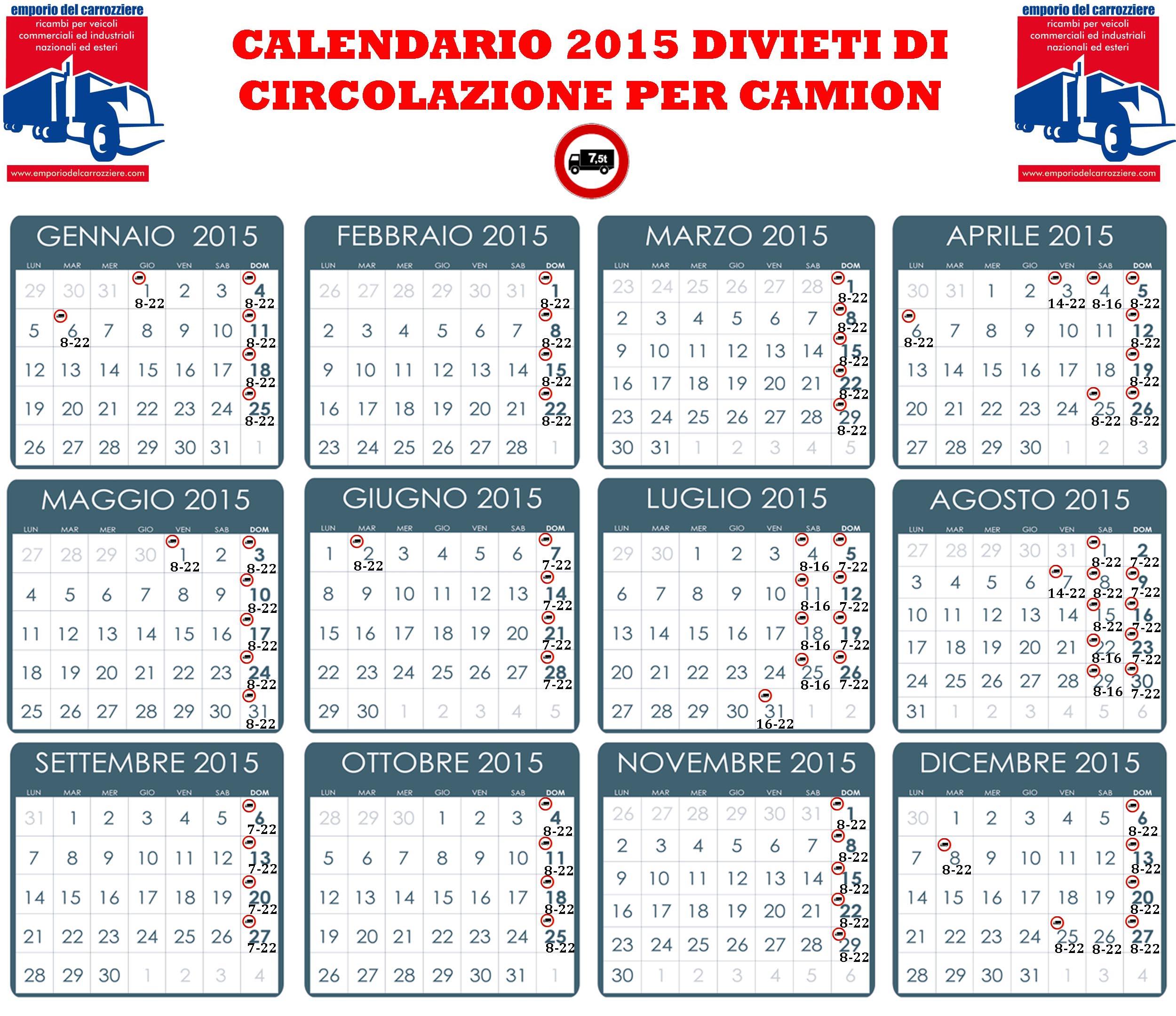 Calendario Divieto Circolazione Mezzi Pesanti.Divieto Circolazione Mezzi Pesanti Polizia Stradale
